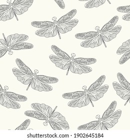 Abstract seamless pattern with insects. Large black dragonflies on a white background. Modern design of fabric, packaging, cobweb, stationery. Linear art vector.