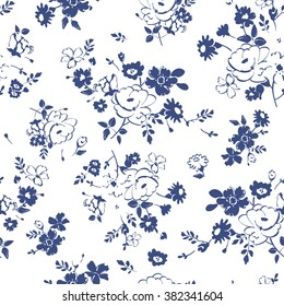 Abstract seamless pattern with isolated blue and white hand drawing flowers. Vector illustration.