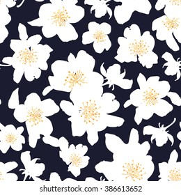 Abstract seamless pattern with isolated hand drawn white flowers. Apple-tree flowers . Sakura flowers. Vector illustration.