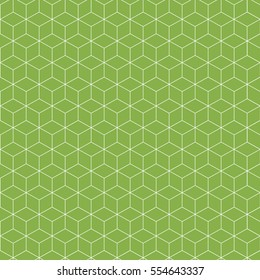 Abstract seamless pattern. Isometric linear geometric figure. Trendy green background. Vector illustration.