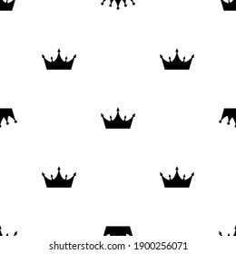Abstract Seamless pattern with king, princess crowns. Vector Illustration