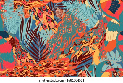 Abstract seamless pattern with large peacock tails and leaves of tropical palm trees. Vector illustration with exotic birds and plants. Red, orange, light blue colors.