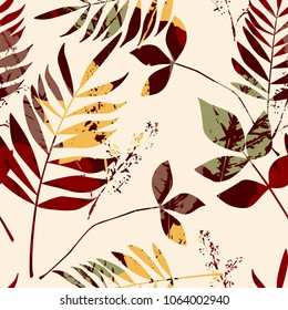 Abstract seamless pattern with leaves. Vector background for various surface. Trendy hand drawn textures.