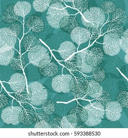 Abstract seamless pattern with leaves. Vector background in turquoise and white colors. Natural texture.