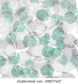 Abstract seamless pattern with leaves. Vector background in turquoise, gray and white colors. Natural texture.