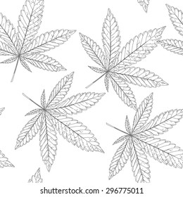 Abstract seamless pattern with Marijuana leaves