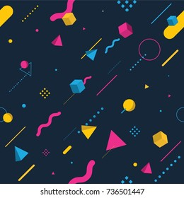 Abstract seamless pattern memphis styles. Colorful geometric background, Vector illustration