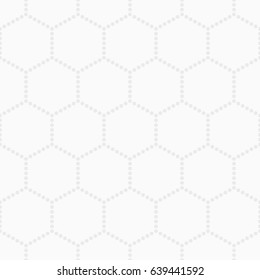 Abstract seamless pattern. Modern stylish texture from circles. Repeating geometric tiles with dotted hexagons. White and grey geometric texture. Vector background.