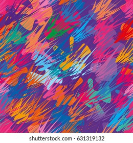 Abstract seamless pattern with multicolored unusual geometrical shapes. Splash and spots. Bright colorful texture for poster, wrap, card, textile.