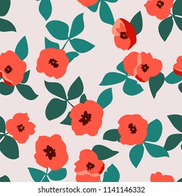 Abstract seamless pattern with naive flowers. Minimal summer trendy floral background in scandinavian style. For textile, wallpaper, surface, print, gift wrap, scrapbooking, decoupage