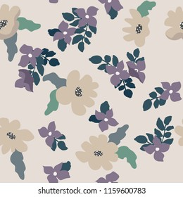 Abstract seamless pattern with naive flowers. Minimal summer trendy floral background in scandinavian style. For textile, wallpaper, surface, print, gift wrap, scrapbooking, decoupage. Shabby chic