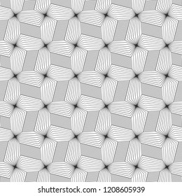 Abstract seamless pattern. Optical illusion of volume and movement of geometric shapes.