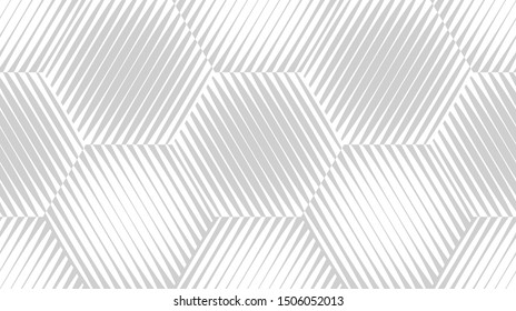 Abstract seamless pattern. Optical illusion of the movement of geometric shapes. Monochrome image.