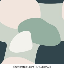 Abstract seamless pattern with organic shapes in mint, light green, dark teal and pastel pink. Trendy and stylish wallpaper, textile, branding and packaging design, modern wall art.