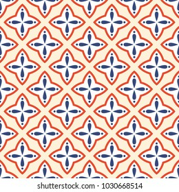 Abstract seamless pattern in oriental style. Repeating geometric ornament. Vector color background.