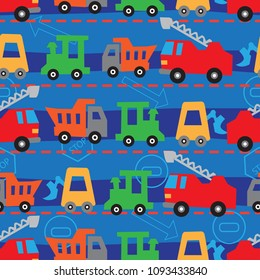 Abstract seamless pattern with painted cars. Isolated pattern for fabric, textile, clothing, wrapping paper, web, bedding, socks, backpacks, wallpaper, cover.
