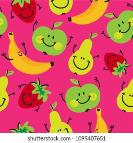 Abstract seamless pattern with painted cartoon fruits. Background with strawberries, bananas, apples and pears for wrapping paper, web, fabric, textiles, clothes, wallpaper, cover for phone, bed.