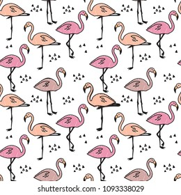 Abstract seamless pattern with painted flamingos. Isolated pattern for fabric, textile, clothing, wrapping paper, web, bedding, socks, backpacks, wallpaper, cover.