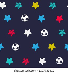 Abstract seamless pattern with painted stars and soccer balls. vector background for fabric, textile, web, wrapping paper, pastel clothes.