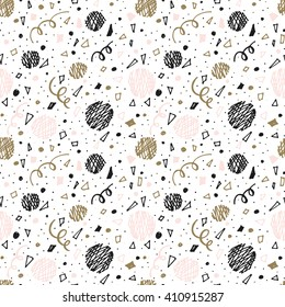 Abstract seamless pattern with party elements. Brush strokes vector background . Black and white hand drawn hipster texture. Print for cards, fabric, wrapping paper.