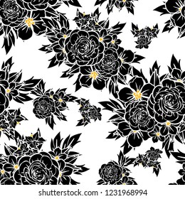 Abstract seamless pattern with plants, herbs and flowers