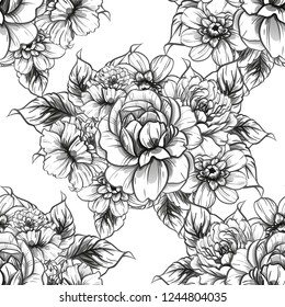 Abstract seamless pattern with plants, herbs and flowers, colorful botanical illustration.