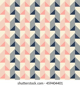 Abstract seamless pattern in pleasant retro color palette. Narrow rectangular tiles with triangles and diagonal lines inside. Vector illustration for various creative projects
