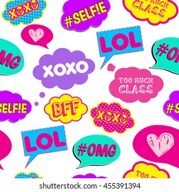 Abstract seamless  pattern with  Pop art comicspeech bubbles , for textile. fashion  Modern grunge background for girls and boys. Lol , xoxo, selfie, BFF