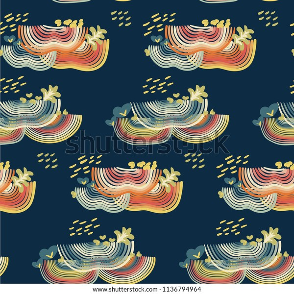 Abstract seamless pattern with rainbow colors on dark blue background. Modern nature mushroom vector