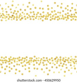 Abstract seamless pattern of random gold dots with empty center for text on white background.  Vector illustration.