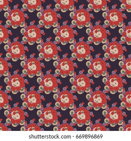 Abstract seamless pattern with randomly bright colored overlapping circles, dots. Abstract background with little circles for your business artwork.
