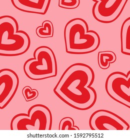 Abstract seamless pattern with red stylized hearts on pink background. Endless background. Minimal design for Valentine's day or wedding. Vector illustration