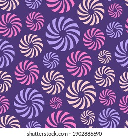 Abstract seamless pattern of repeating round ornaments isolated on purple background. Background with circles, swirling shapes. Stylish texture. Vector color illustration.