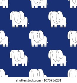 Abstract seamless pattern. Small cool simple cartoon elephants. Blue background. For textile,fabric,cloth pattern,templates,prints,stickers for kids and modern home decor. Vector illustration.