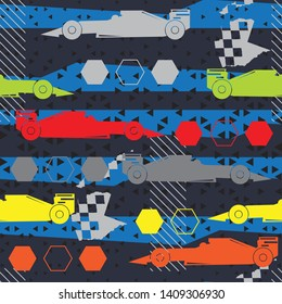 Abstract seamless pattern with sport cars .Bright background with grunge elements for textiles, children's clothes, prints. Pattern for boys