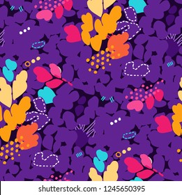 Abstract seamless pattern with strokes, dots and floral elements drawn in vintage style of 80's and 90's. Bright vector design