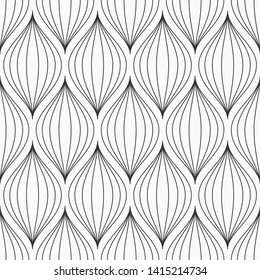 Abstract seamless pattern of stylized petals. Modern stylish texture. Elegant linear ornament. Vector monochrome background.