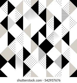 Abstract Seamless Pattern. Seamless Pattern with Triangles. Black and white pattern with rhombus, lines and dots. Vector illustration