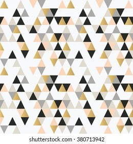Abstract seamless pattern with triangles in pink, gold and black.