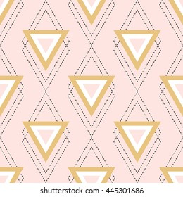 abstract seamless pattern with triangles and rhombus in pink, gold and black; trendy illustration; design for scrapbook paper, prints, cover, invitation