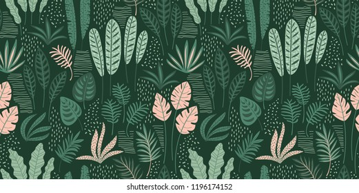 Abstract seamless pattern with tropical leaves. Hand draw texture. Vector template.