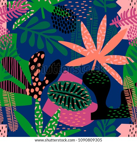 abstract seamless pattern tropical leaves hand のベクター画像素材