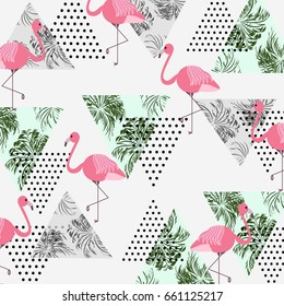 Abstract seamless pattern with tropical palm leaves,flamingos and textured triangles. Triangle with grunge halftone textures. Geometric background in 80s 90s pop art style. Vector illustration.