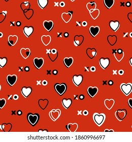 Abstract seamless pattern for Valentines day. Red background with small hearts. Cute hand-drawn simple illustration. Ornament for wrapping paper banner, postcard. Vector illustration about love.