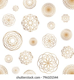 Abstract seamless pattern with various round geometric shapes drawn with golden contour lines on white background. Elegant vector illustration for wallpaper, wrapping paper, fabric print, backdrop.