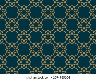 Abstract seamless pattern, Vector seamless pattern. Repeating geometric ornament . luxury gold blue color