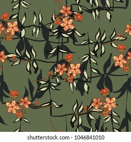 Abstract seamless pattern with vintage flowers