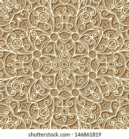 Abstract seamless pattern, vintage gold texture, vector lattice ornament