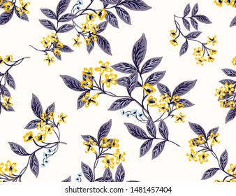 Abstract seamless pattern with vintage leaves and flowers. Vector background, modern style. Oriental blooming yellow flowers seamless pattern for fashion, fabric and all prints