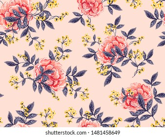 Abstract seamless pattern with vintage leaves and flowers. Vector background, modern style. Perfect for all types of prints